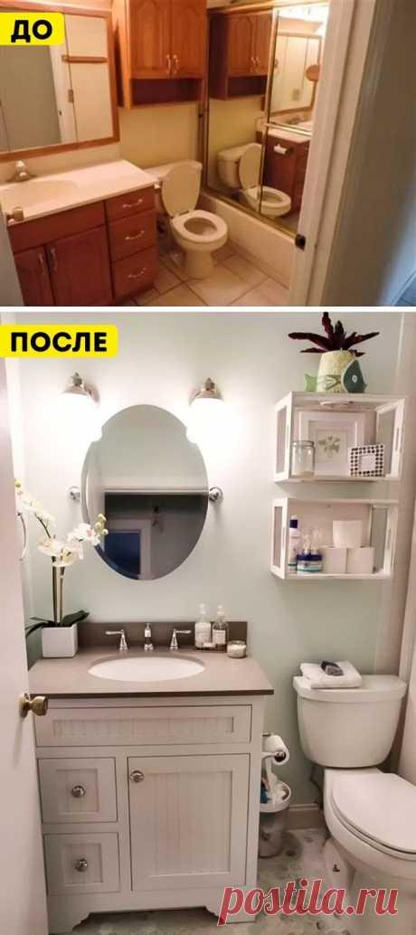 13 дизайнерских решений, как превратить маленькую ванную в просторную. Маленькая ванная невсегда означает отсутствие уюта итесноту. Правильно подобранная планировка, мебель инесколько мелочей помогут организовать пространство исделать ванную комнату нетолько больше, ноисимпатичнее. 1. Светлые цвета  Мебель светлых тонов выгодно преображает небольшие комнаты, втом числе иванные. 2. Полка для вещей над дверью Полка над дверью— отличный способ использовать простран...