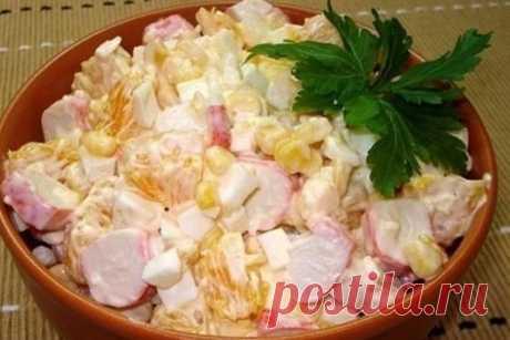 Крабовый салат с апельсинами и кукурузой рецепт – салаты. «Еда»