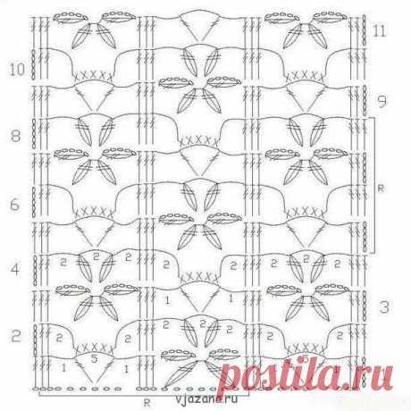 Узоры с цветами и листьями крючком, 10 узоров схема и описание | Вязана.ru