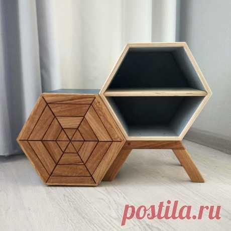 Тумба-шестигранник. Автор magnus90 на pikabu ( #DIY_Идеи #тумба #шестигранник #дерево #мастер #мастерская #идея