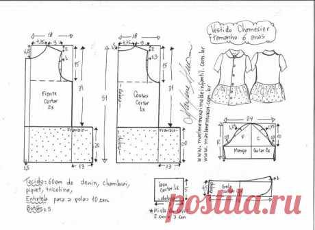 Джинсовое платье для девочки.Размеры детям от года до 14 лет. выкройки