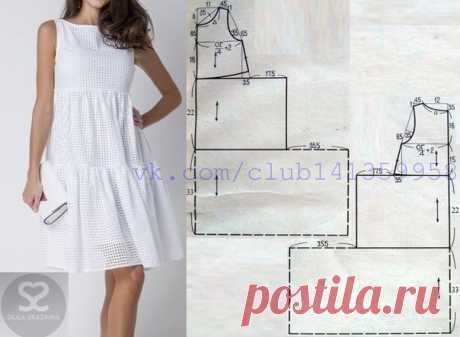 Платье с завышенной линией талии и ярусной юбкой. #простыевыкройки #простыевещи #шитье #платье #выкройка