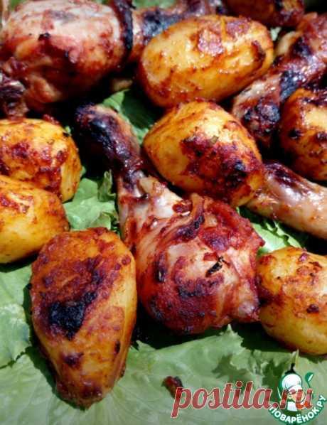 Курица с картофелем в горчично-томатном маринаде