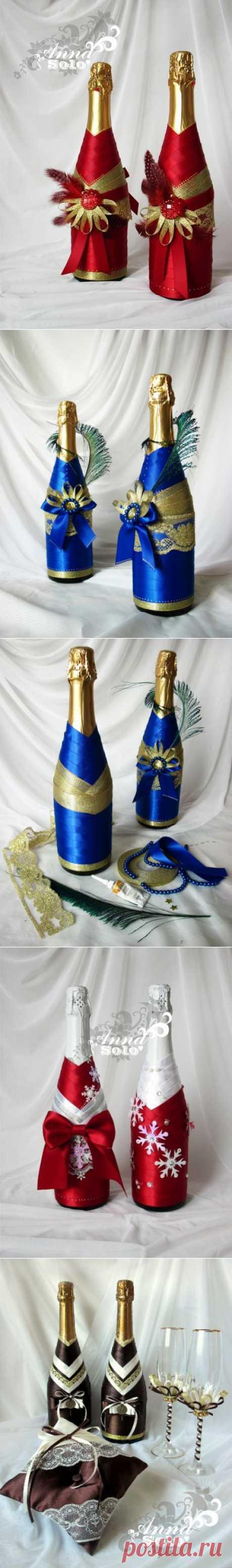 МК по декору бутылок атласными лентами | Zalin.ru