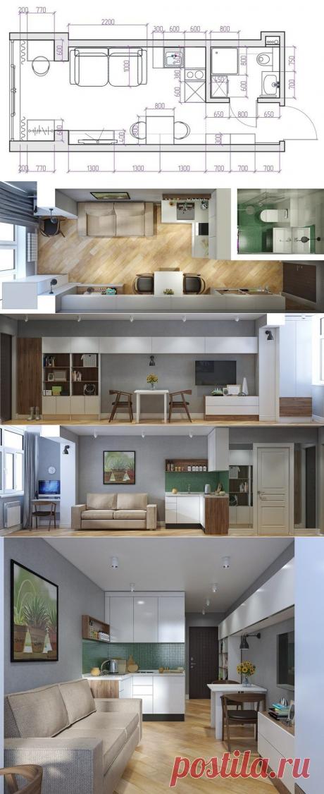 Проект квартиры-студии 19 кв.м. - Дизайн интерьеров | Идеи вашего дома | Lodgers
