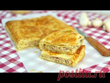 Bacon, Onion & Mushroom Empanada - Easy Bacon, Cheese & Mushroom Puff Pastry Pie Recipe Learn how to make a delicious empanada made with puff pastry and filled with bacon, onion, mushroom, egg and cheese. This is an easy appetizer that everyone will enjoy!  ▼ INGREDIENTS LIST:  - 1 puff pastry sheet - 1 medium onion, chopped - 5 bacon slices