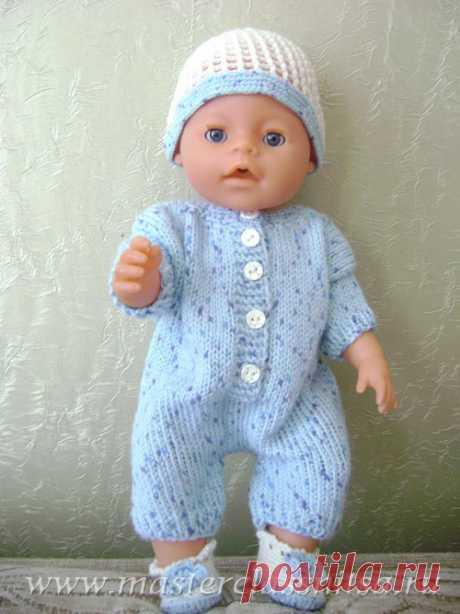 Летний костюмчик спицами(комбинезон,шапочка, пинетки) для куклы Беби Борн