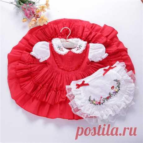 Платье для маленьких девочек; красное винтажное рождественское платье; испанская одежда ручной работы; Цветочная вышивка; кружевная одежда для малышей; платье принцессы-in Платья from Мать и ребенок on AliExpress - 11.11_Double 11_Singles' Day