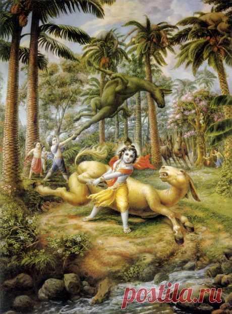 Кришна и Баларама -расправляются с демонами-ослами.