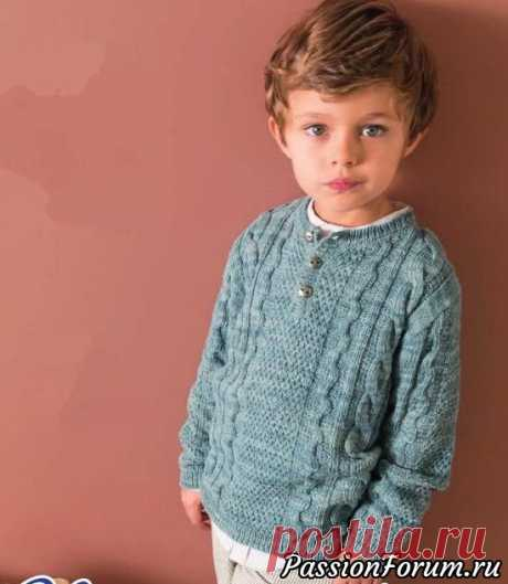 Пуловер для мальчика. Описание и схема   Вязание спицами для детей Сын подрос, кажется, так быстро! Начинается самый сложный возраст. Детская одежда ему уже не по вкусу. Но этот пуловер наверняка понравится.Размеры:6/8/10/12/14-16 летВам потребуется:6/7/8/9/10 мотков меланжевой серо-голубой (Danube) пряжи Phil Nature (48 % хлопка, 28% вискозы, 24 % льна,...