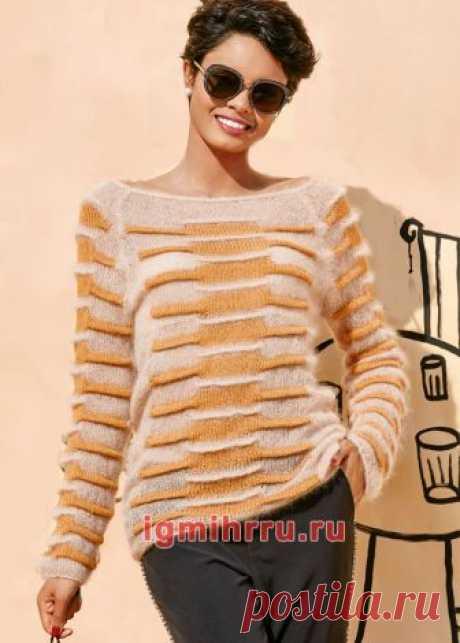 Мягкий женственный пуловер с защипами. Вязание спицами