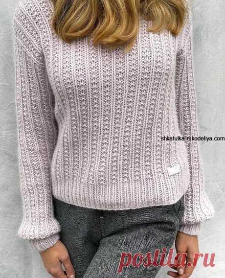 Модный свитер спицами 2020 с описанием. Теплый женский свитер спицами   Шкатулка рукоделия. Сайт для рукодельниц.