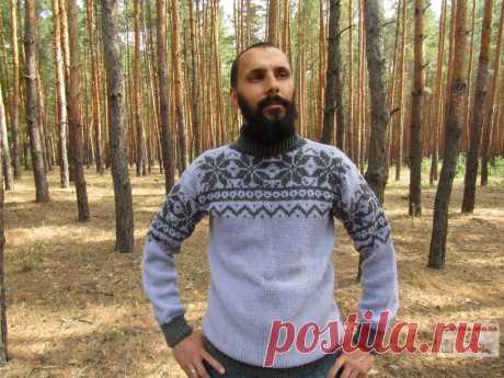 Мужской свитер с жаккардовым узором спицами - медиаплатформа МирТесен