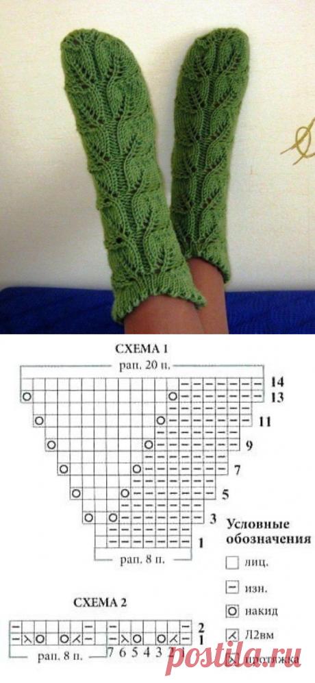 Зеленые ажурные носочки спицами