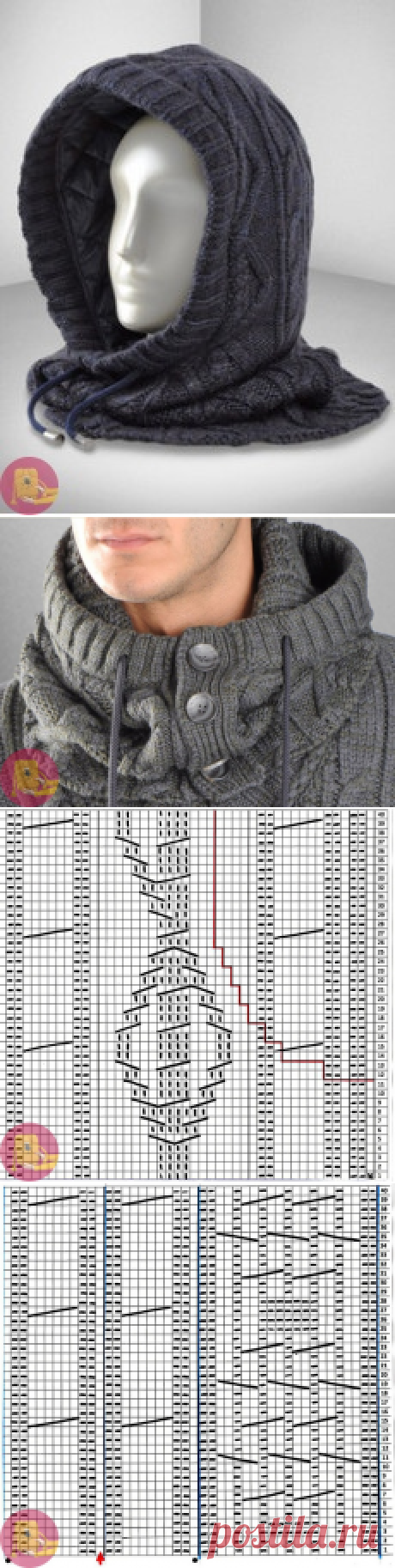 Вязаный снуд-капюшон для мужчин — Сделай сам, идеи для творчества - DIY Ideas