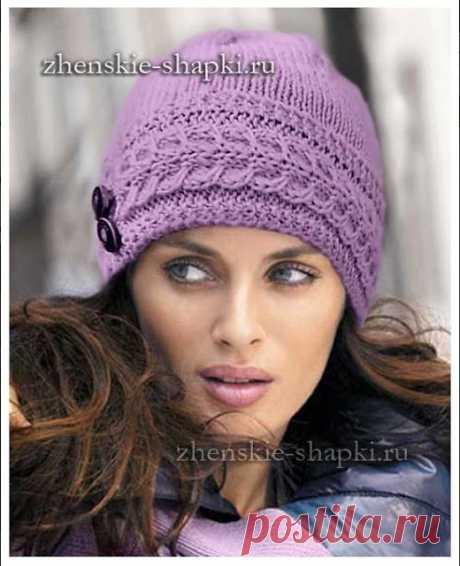 Женская шапочка спицами       источник