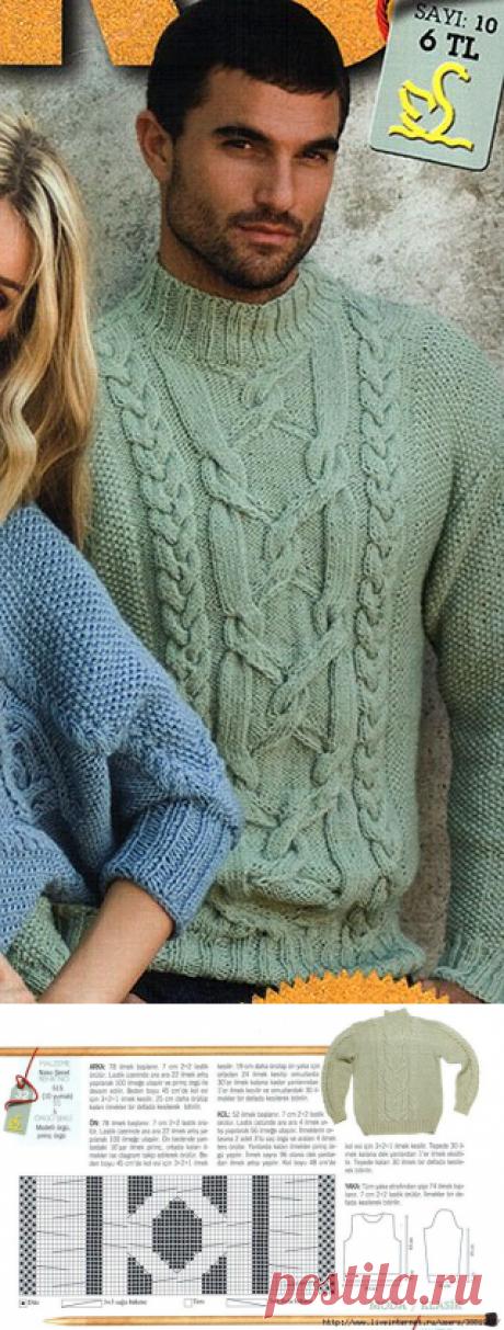 Мужской свитер спицами от Nako..