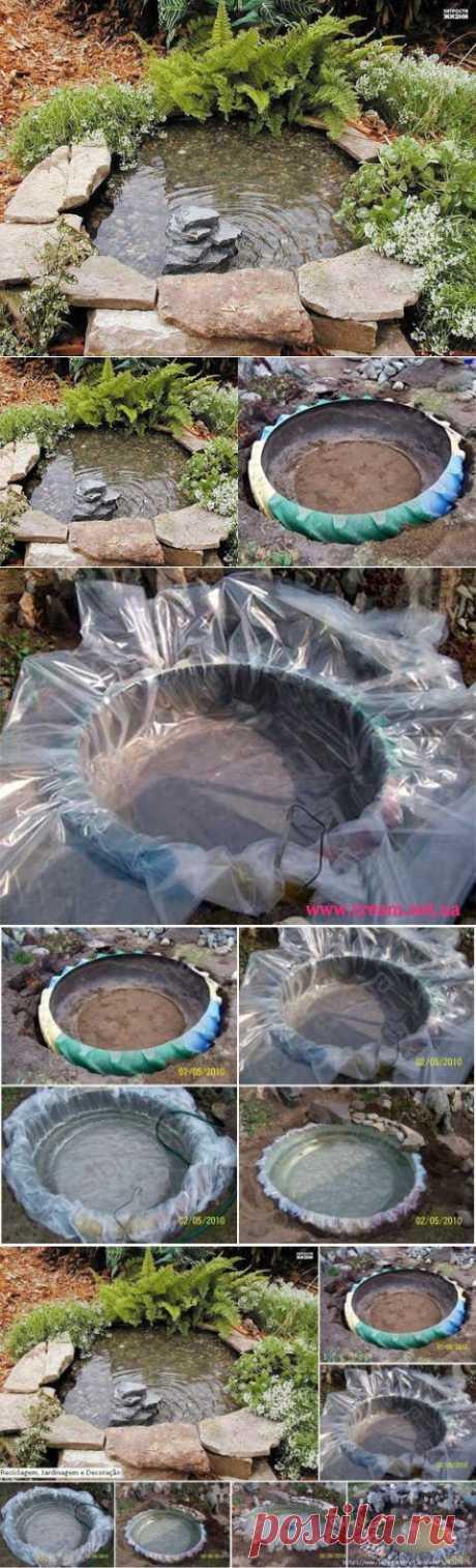 Как сделать декоративный прудик из старой покрышки | МАСТЕРА
