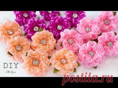 ЦВЕТЫ ИЗ УЗКОЙ ЛЕНТЫ, МК / DIY Narrow Ribbon Flowers