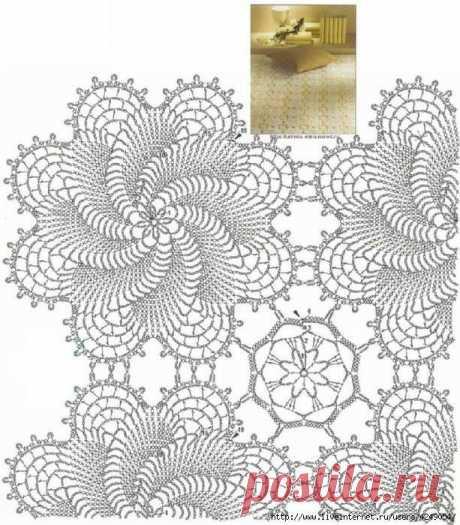 (3) Красивый ажурный плед крючком - Вязание. Копилка схем