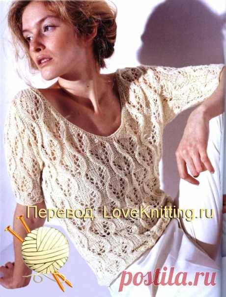 Ажурный пуловер на лето  Модель из японского журнала. Пересказ: LoveKnitting.ru. Ажурный пуловер из японского журнала выполнен нежным узором, с которым легко справится даже начинающая рукодельница. Размер: XS ВАМ ПОНАДОБИТСЯ…