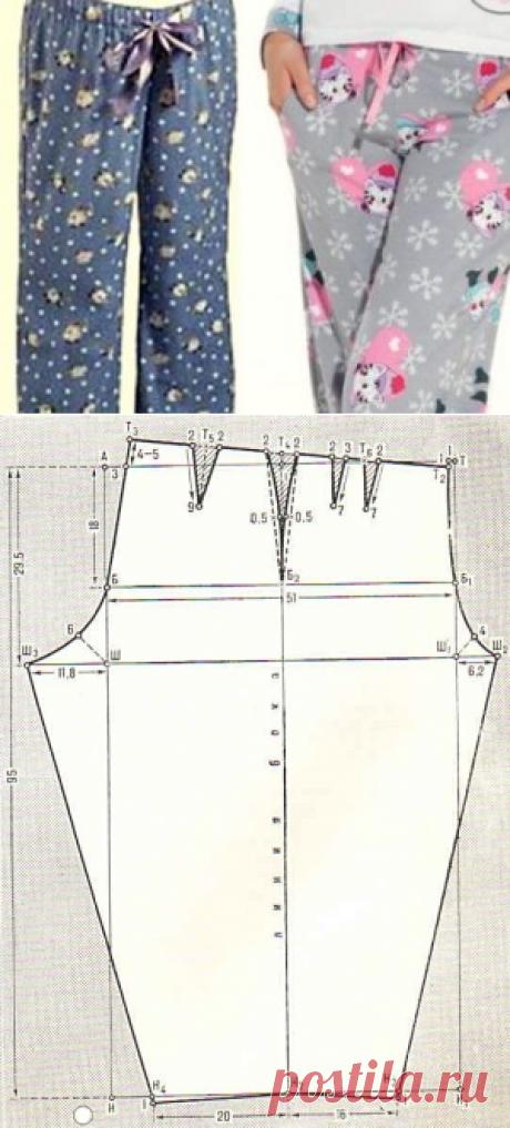 Выкройка пижамы — брюки