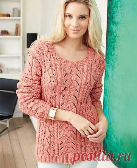 Ажурный пуловер с «косами» - схема вязания спицами. Вяжем Пуловеры на Verena.ru