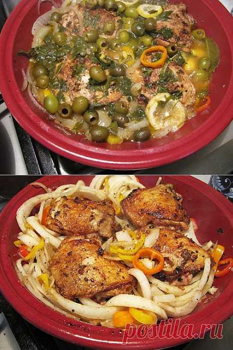 таджин с курицей, оливками и лимоном.