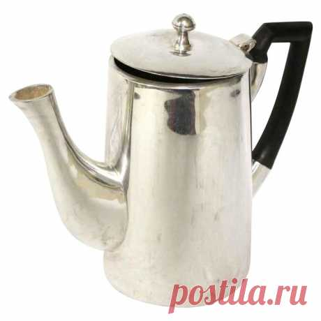1950s NYC Waldorf Astoria Hotel MCM Silver Plated Tea Pot with Black Handle For Sale at 1stDibs