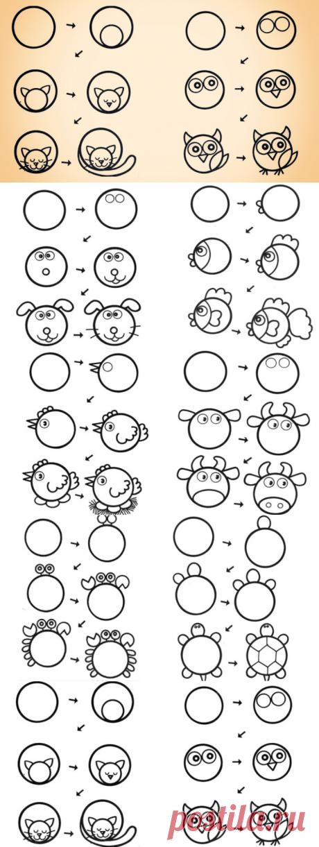 10 способов научить ребёнка рисовать животных из кругов