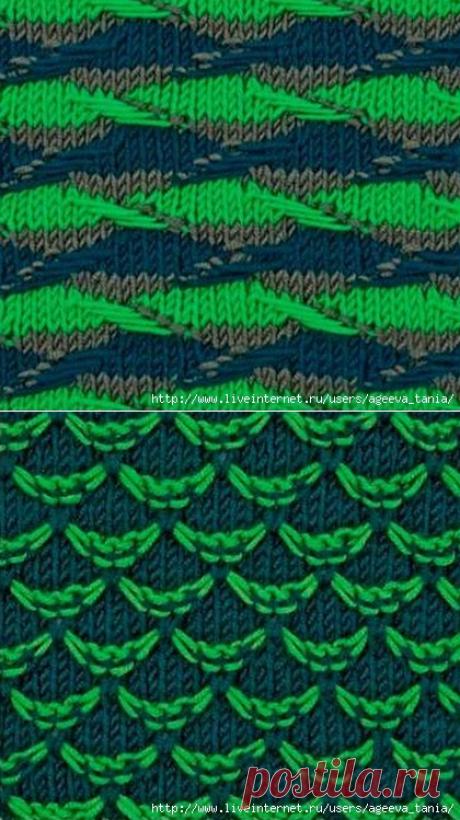 Подборка цветных узоров с вытянутыми петлями №2.