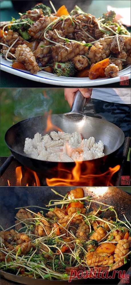 Китайский рецепт шашлыков из кальмаров.