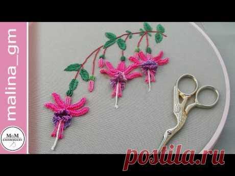Amazing embroidery * How to embroider fuchsia * Brazilian flower embroidery #malina_gm