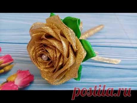 Ручка розочка / Подарочная ручка / Красивая ручка своими руками #канзаши #своимируками #ручкацветок