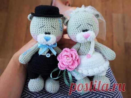 Свадебные мишки крючком, амигуруми по МК Татьяны Лысенко