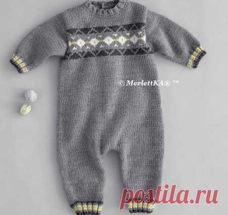 Вязание спицами для младенцев - Комбинезон