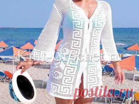 Кардиган летний крючком Кардиган летний крючком. Даже простая «филейная вязка», на которой можно «нарисовать» несложные, но привлекательные узоры, может превратить обычный кардиган в роскошный, который захочется надеть не только на пляж.