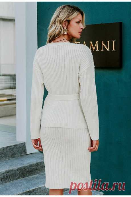 White women knitted sweater dress Elegant autumn winter two pieces ski - idetsnkf