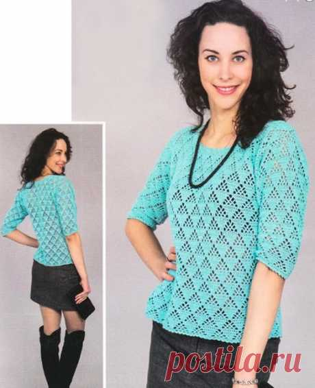 Пуловер ажурным узором Пирамидки с коротким рукавом крючком – схемы с описанием вязания