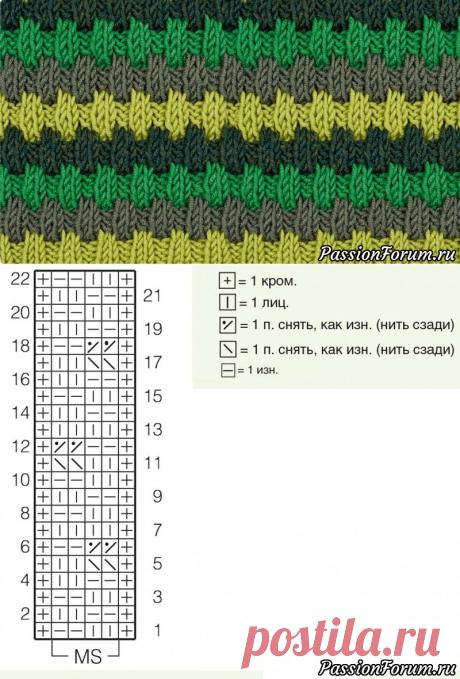 Трехцветный узор со снятыми петлями | Вязание спицами для начинающих