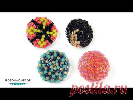 Delica Button Shank Cover - DIY Jewelry Making Tutorial by PotomacBeads