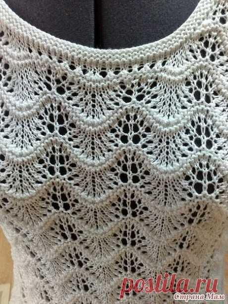 Роскошный узор спицами для вязания летних вещей, например топов.