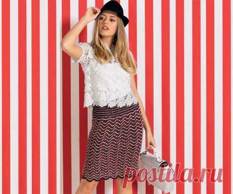 Вязаная юбка волнообразным узором - Портал рукоделия и моды