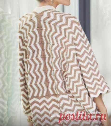 Жакет-кимоно с узором зигзаг, схема спицами