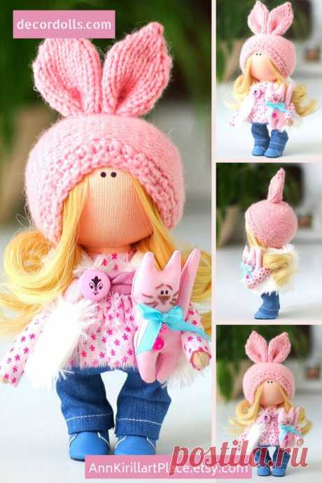 Bunny Doll Handmade Christmas Decor Doll Winter Interior   Etsy
