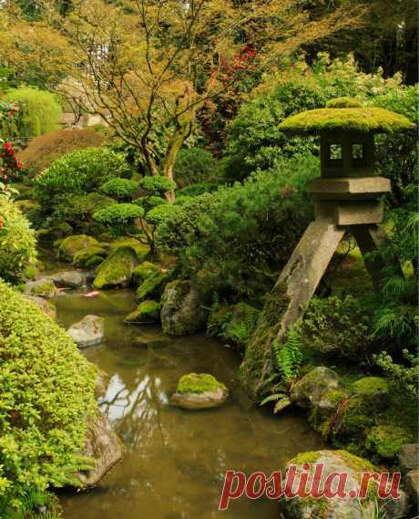 Японский сад в Портленде - Japanese Garden in Portland (США, Портленд, Орегон).