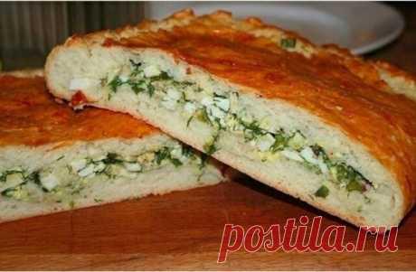 Пирог с яйцом и зеленым луком🤗