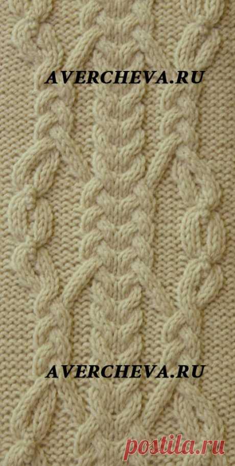Узор спицами 915 « коса 32 петли»| каталог вязаных спицами узоров