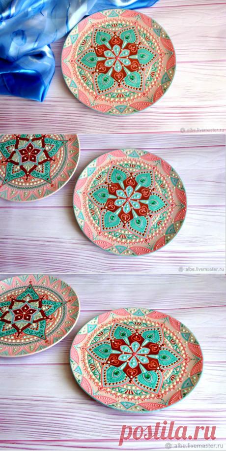 Декоративная тарелка Черешневый сад 1 точечная роспись – купить в интернет-магазине на Ярмарке Мастеров с доставкой - GJR11RU   Омск