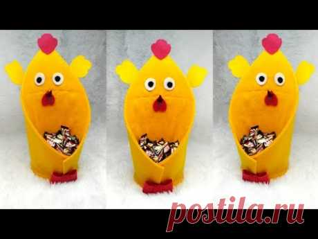 111) Ide kreatif - Tempat permen simpel dari kain flanel    candy ayam    candy merak    candy angsa